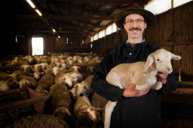 Schafhirte Frank Buchenhorst mit einem Lämmchen vor seiner Herde im Stall ---> Aufgenommen am 05.04.12,auf dem Hof von Frank Buchenhorst an der B521, Frankfurt am Main, Bergen, von Christian Christes (FNP)