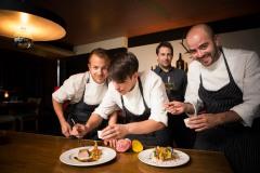 Gastrokolumne: Restaurant Riz > Marc Kaltwasser, Jan Hoffmann, Philipp Degenhart und Peter Muschol ---> Aufgenommen am 02. Aug 2012, in der Berliner Str. 72, Frankfurt am Main, Innenstadt, von Christian Christes (FNP)